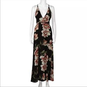 Dresses - Black Floral Backless Dress
